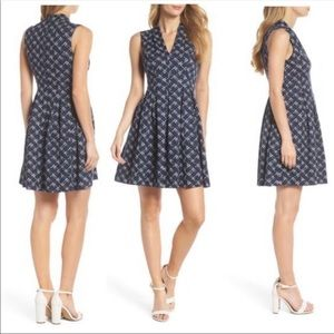 Vince Camuto Navy and white fit and flare dress -6